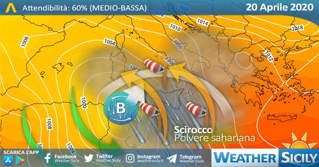 Sicilia, la primavera si spegne: maltempo da lunedì. Arriva la sabbia del Sahara.