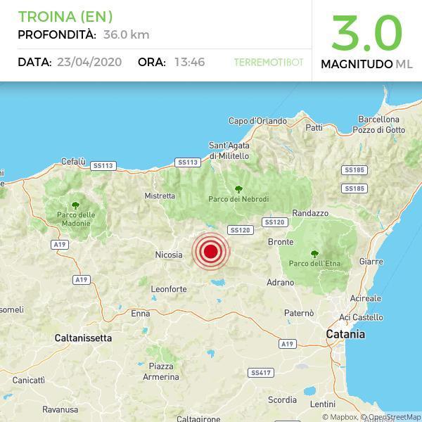 Sicilia, sequenza sismica su Troina: la scossa più forte di 3.0!