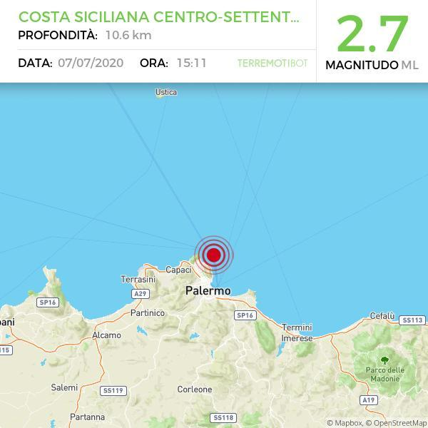Sicilia, scossa di terremoto  a Mar Ionio Meridionale (MARE)