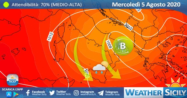 Sicilia: mercoledì il fresco giungerà ovunque! Locale instabilità.