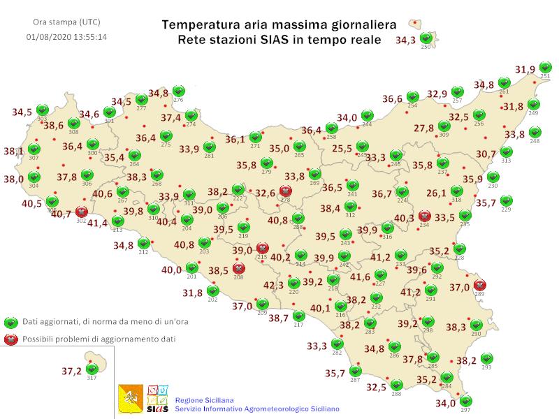 Sicilia: le max attese oggi. Siracusa la città più bollente con 40 gradi.