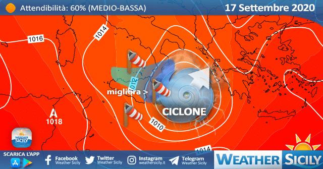 Sicilia: ecco il ciclone tropicale Cassilda. Peggiora ad oriente!