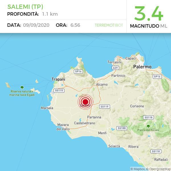 Sicilia, scossa di terremoto 3.4 a Salemi (TP)