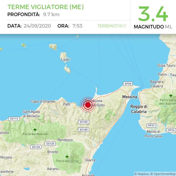 Sicilia, scossa di terremoto  a Terme Vigliatore (ME)