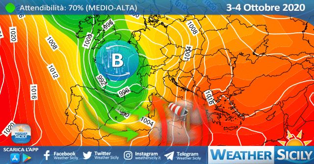 E' in arrivo una burrasca/tempesta di Scirocco su Sicilia settentrionale e occidentale.