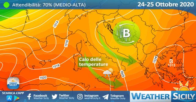 Weekend in Sicilia: calo delle temperature e locali piogge.