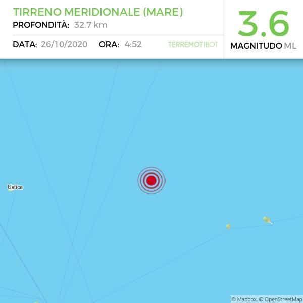 Sicilia, continua e tremare il basso Tirreno: scossa di magnitudo 3.6!