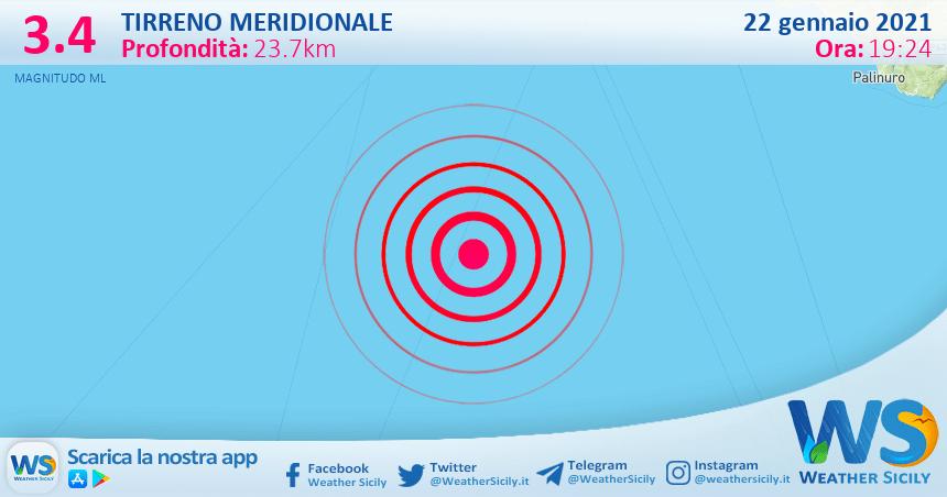 Sicilia: scossa di terremoto di magnitudo 3.4 nel Tirreno Meridionale (MARE)