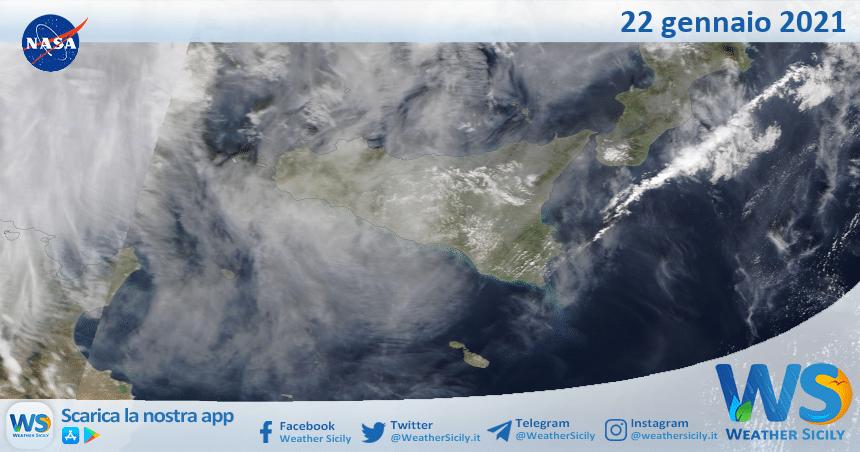 Sicilia: immagine satellitare Nasa di venerdì 22 gennaio 2021