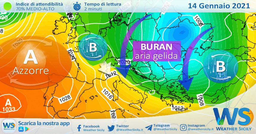 Sicilia: localmente instabile giovedì. Tendenza gelo nel weekend?