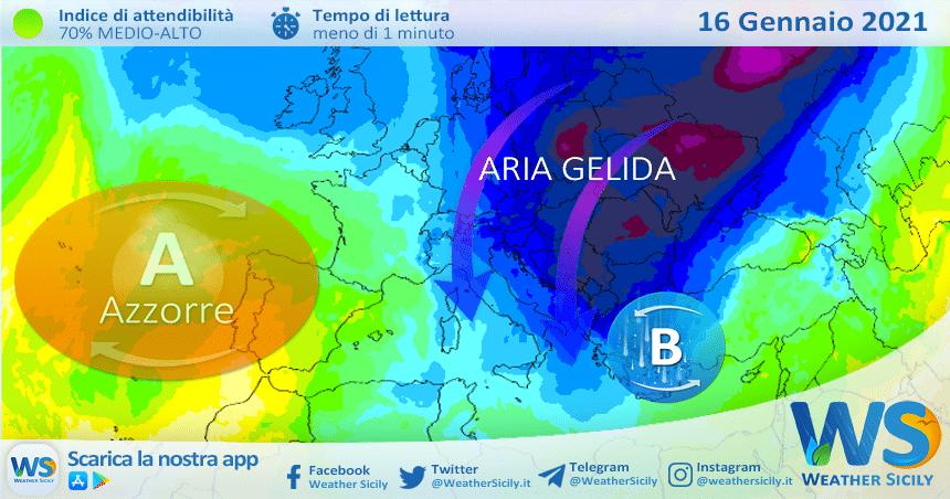 Sicilia, aria siberiana sabato: atteso un sensibile calo delle temperature.