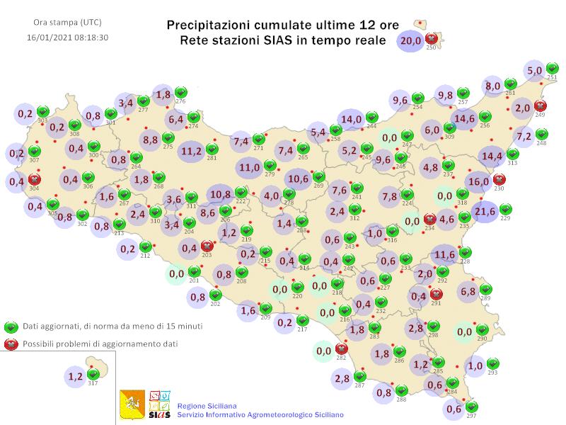 Sicilia: gli accumuli delle ultime 12 ore. Crollo termico dal pomeriggio.