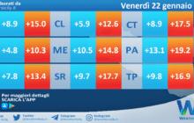 Temperature attese per venerdì 22 gennaio 2021 in Sicilia