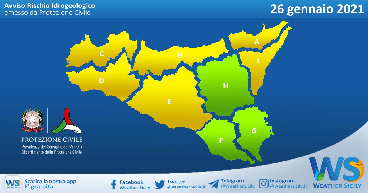 Emanata allerta meteo gialla su Sicilia occidentale e settentrionale martedì 26 gennaio 2021