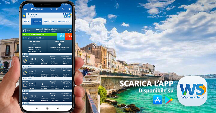Sicilia: impennata termica venerdì con punte fin i 21 gradi.