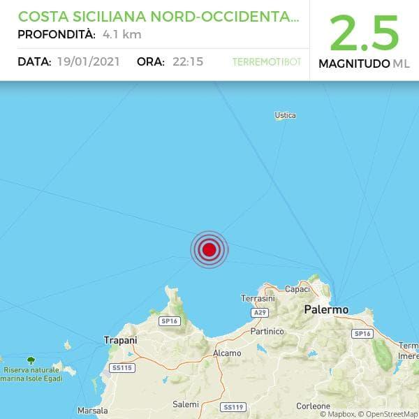 Sicilia, scossa di terremoto 2.5 al largo della costa trapanese