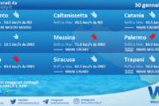 Sicilia: condizioni meteo-marine previste per sabato 30 gennaio 2021