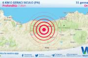 Sicilia: scossa di terremoto magnitudo 2.7 nei pressi di Geraci Siculo (PA)