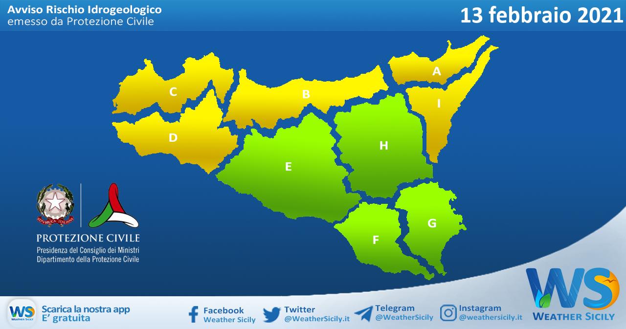 Emessa allerta gialla su Sicilia occidentale e settentrionale sabato 13 febbraio 2021