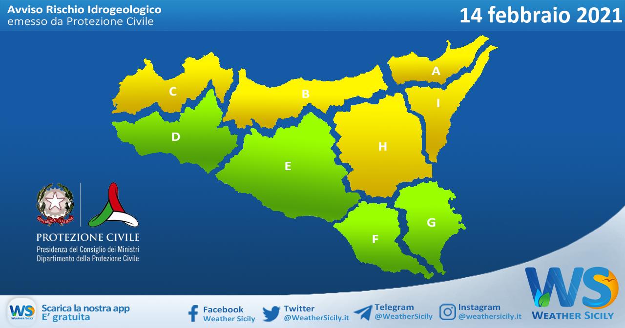 Emessa allerta meteo gialla su Sicilia settentrionale e nord-orientale per domenica 14 febbraio 2021