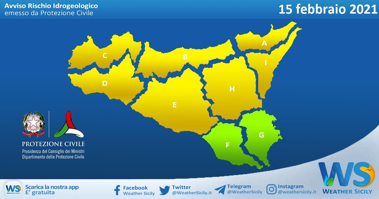 Sicilia: avviso rischio idrogeologico per lunedì 15 febbraio 2021