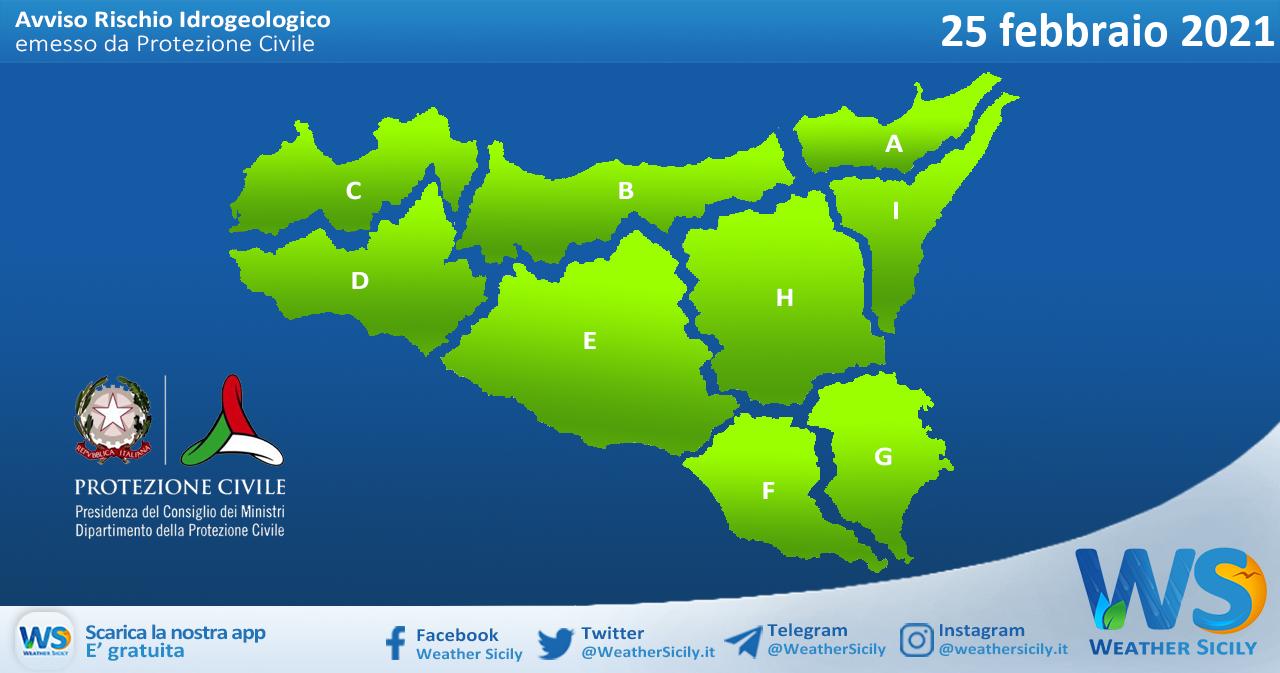 Sicilia: avviso rischio idrogeologico per giovedì 25 febbraio 2021