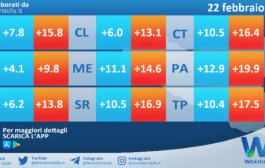 Temperature previste per lunedì 22 febbraio 2021 in Sicilia