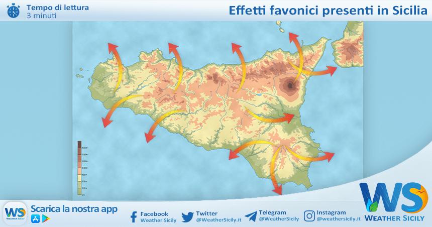 Sicilia, meteo didattica: l'effetto favonico.