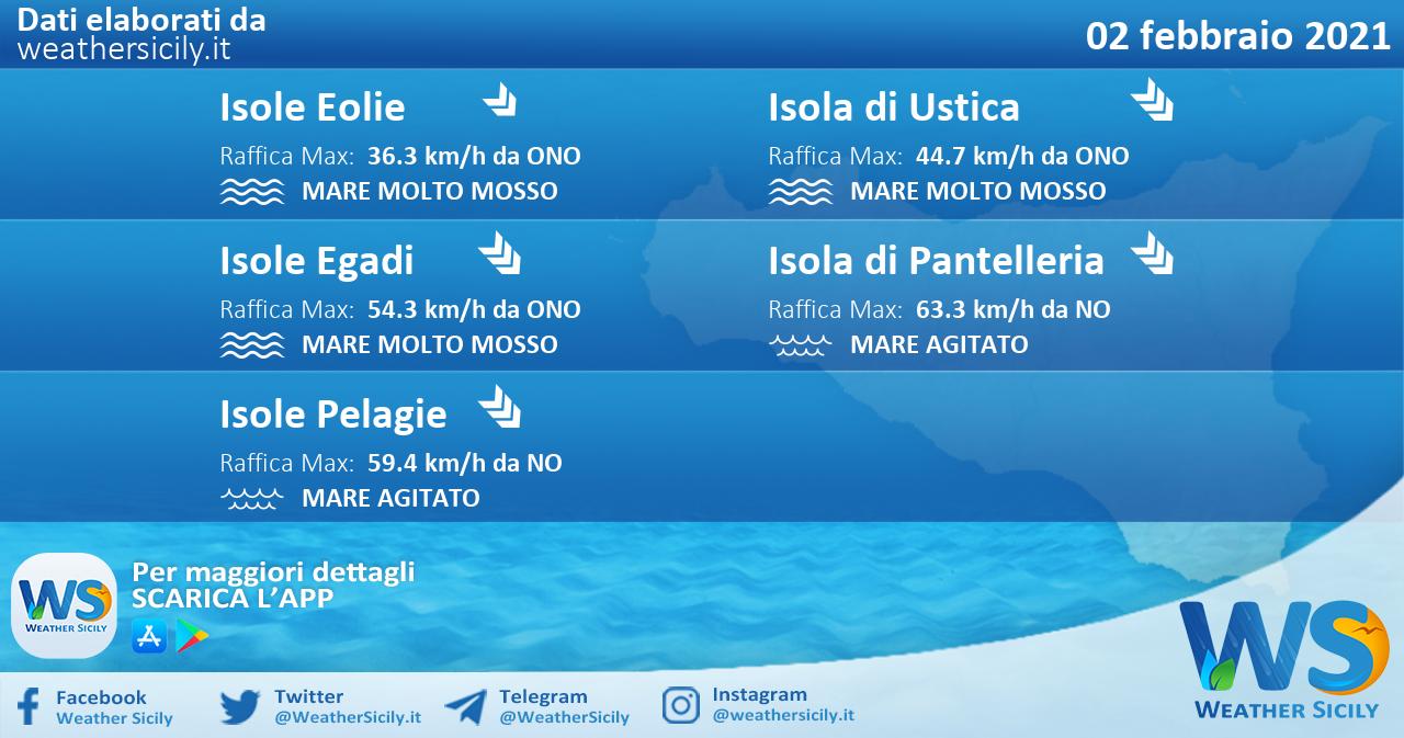 Sicilia, isole minori: condizioni meteo-marine previste per martedì 02 febbraio 2021