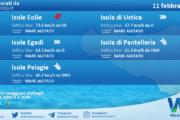 Sicilia, isole minori: condizioni meteo-marine previste per giovedì 11 febbraio 2021
