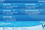 Sicilia, isole minori: condizioni meteo-marine previste per domenica 28 febbraio 2021