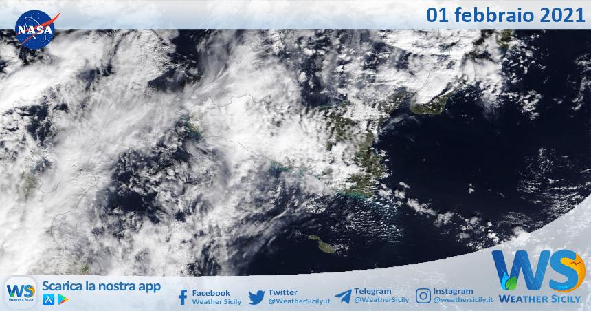 Sicilia: immagine satellitare Nasa di lunedì 01 febbraio 2021