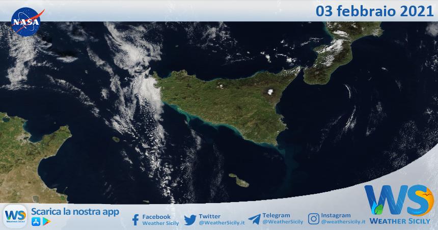 Sicilia: immagine satellitare Nasa di mercoledì 03 febbraio 2021