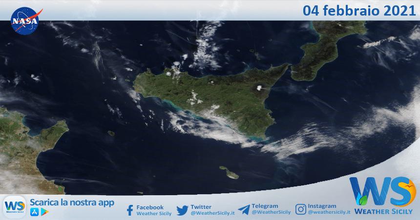 Sicilia: immagine satellitare Nasa di giovedì 04 febbraio 2021