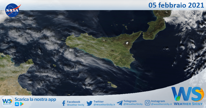 Sicilia: immagine satellitare Nasa di venerdì 05 febbraio 2021