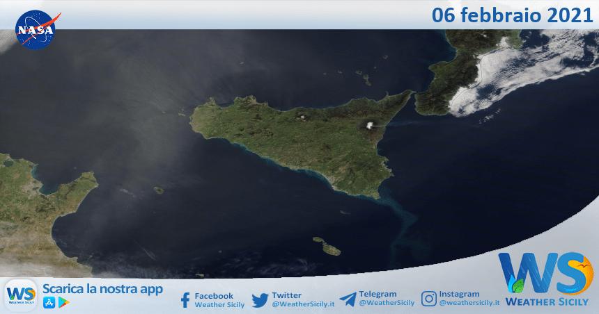 Sicilia: immagine satellitare Nasa di sabato 06 febbraio 2021