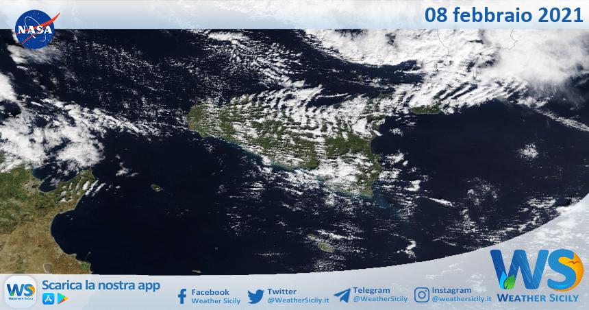 Sicilia: immagine satellitare Nasa di lunedì 08 febbraio 2021