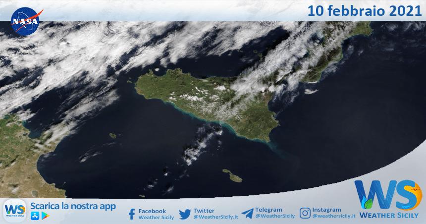 Sicilia: immagine satellitare Nasa di mercoledì 10 febbraio 2021