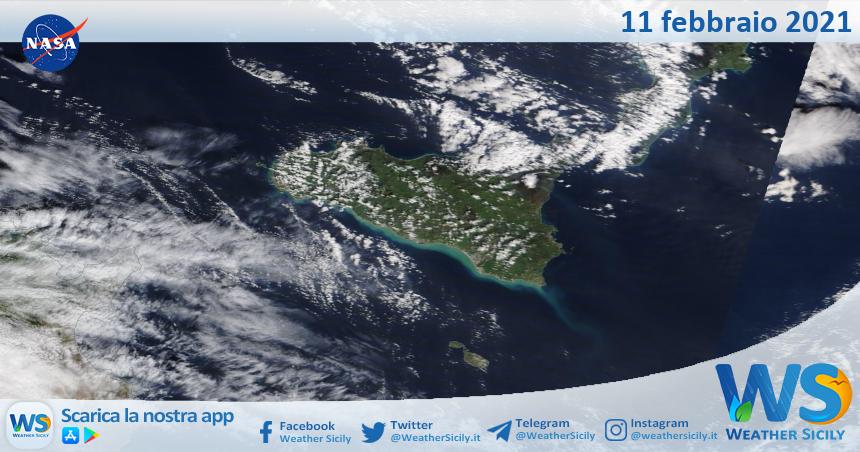 Sicilia: immagine satellitare Nasa di giovedì 11 febbraio 2021