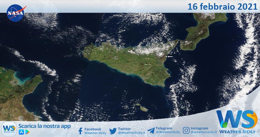 Sicilia: immagine satellitare Nasa di martedì 16 febbraio 2021