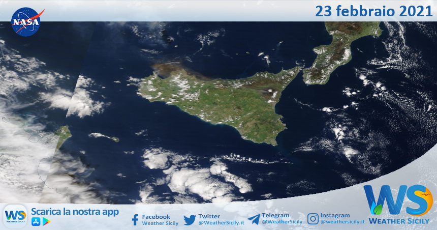 Sicilia: immagine satellitare Nasa di martedì 23 febbraio 2021
