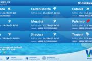 Sicilia: condizioni meteo-marine previste per venerdì 05 febbraio 2021