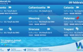 Sicilia: condizioni meteo-marine previste per martedì 09 febbraio 2021