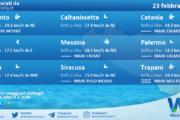 Sicilia: condizioni meteo-marine previste per martedì 23 febbraio 2021