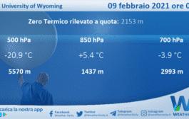 Sicilia: Radiosondaggio Trapani Birgi di martedì 09 febbraio 2021 ore 00:00