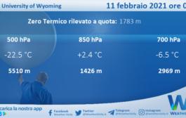 Sicilia: Radiosondaggio Trapani Birgi di giovedì 11 febbraio 2021 ore 00:00