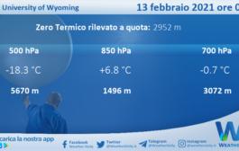 Sicilia: Radiosondaggio Trapani Birgi di sabato 13 febbraio 2021 ore 00:00
