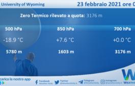 Sicilia: Radiosondaggio Trapani Birgi di martedì 23 febbraio 2021 ore 00:00