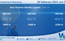 Sicilia: Radiosondaggio Trapani Birgi di venerdì 26 febbraio 2021 ore 00:00