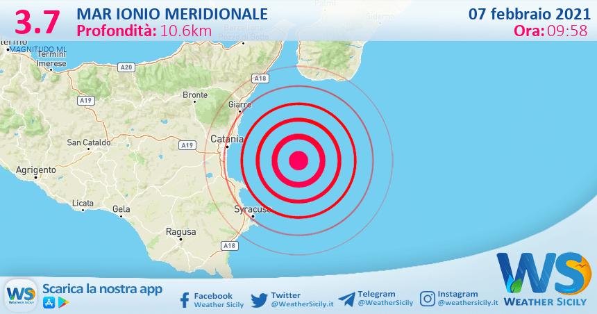 Sicilia: scossa di terremoto magnitudo 3.7 nel Mar Ionio Meridionale (MARE)